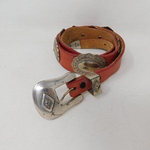 Vintage Justin Red Leather Concho Belt 30 Mens
